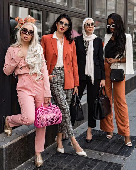 Workwear chic    #LTKworkwear #LTKunder50 #LTKspring #LTKshoecrush #LTKstyletip #LTKitbag #pinksuit #bows #bowheadband #mules #metallic #jellybag #tararrized #gold #liketkit @liketoknow.it http://liketk.it/2BlMz