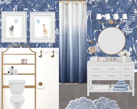 Blue tropical bathroom. Blue and white bathroom. Blue palm wallpaper. Preppy grand millennial bathroom. Trendy bathroom. Teen kids girls. Gender neutral. Safari bathroom.    http://liketk.it/3h7MV #liketkit @liketoknow.it #LTKkids #LTKhome #LTKfamily @liketoknow.it.family @liketoknow.it.home