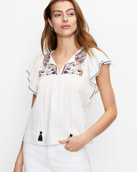 White blouse. Peasant top. work fashion. Under 30. Affordable style. Spring and summer fashion. http://liketk.it/3fHtn #liketkit @liketoknow.it #LTKunder50 #LTKstyletip #LTKworkwear