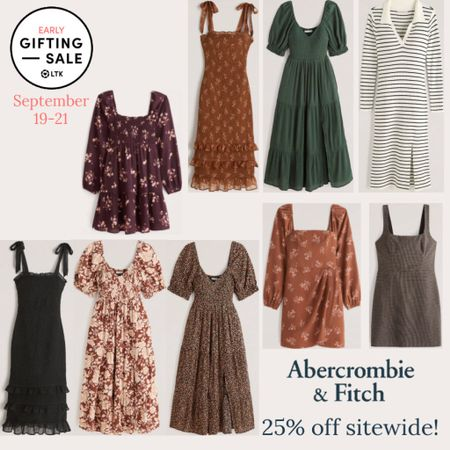 The LTK Early Gifting Sale starts today! All of your fall fashion favorites and bestsellers from Abercrombie & Fitch are on sale for 25% off through September 21st, only in the LTK app!  . Fall dresses wedding guest dress fall dress fall floral dress midi dress sweater dress  thanksgiving dress thanksgiving outfit   #LTKsalealert #LTKSale #LTKunder100