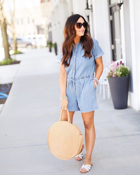 Say hello to the most loved item by you all this past week from my @walmartfashion try on! 👏🏻 Isn't this chambray romper perfection?! What you can't see or feel is the quality... TOP NOTCH. #ad • Actually, everything from the new Free Assembly line at @walmart is incredible! So cute but with prices that can't be beat (most items under $35!) 🤯 If you missed the try on, it's saved to my highlights! http://liketk.it/3fG5P #liketkit @liketoknow.it #freeassembly #walmartfashion