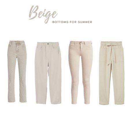 Beige jeans and pants for summer. Mix of price ranges. High rise, crop, paper bag, straight leg, skinny, slim.   #LTKunder100 #LTKSeasonal #LTKunder50