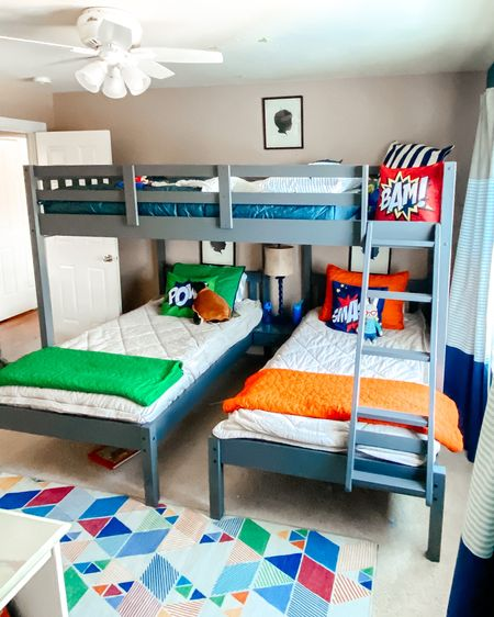 Boys room, boys bedroom, shared bedroom, kids bedroom, beddys, target home, bunk beds, triple bunk, bunk room, kids decor, pillowfort http://liketk.it/38MXE #liketkit @liketoknow.it