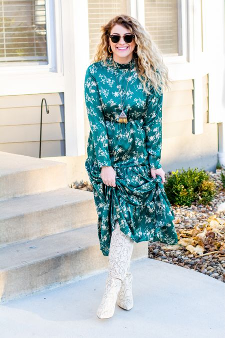 A green satin prairie dress and slouchy snakeskin boots for your holiday outfit consideration. (Over Zoom, of course.) http://liketk.it/34iFK #liketkit @liketoknow.it #LTKshoecrush #holidayoutfit #outfitinspo