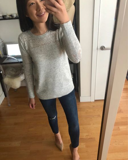 This grey sweater! 🐰 I went up one size for a more relaxed fit. Jeans are my usual size 25P. @liketoknow.it http://liketk.it/2xQ8r #liketkit #LTKsalealert #LTKshoecrush #LTKstyletip #LTKunder50 #LTKunder100