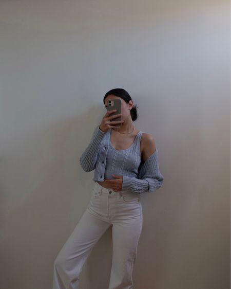 Matching set: blue knit crop top and matching blue cardigan from ASOS - Stradivarius. White jeans from Mango. Perfect beach vacation summer outfit #competition  #LTKSeasonal #LTKtravel #LTKeurope