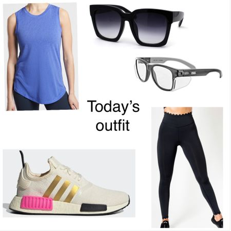 Today's work outfit/workout outfit  Adidas sneakers Scallop leggings  Safety glasses  Oversized sunnies  Breezy tank comes in many colors http://liketk.it/3gSXh #liketkit @liketoknow.it #LTKsalealert #LTKfit
