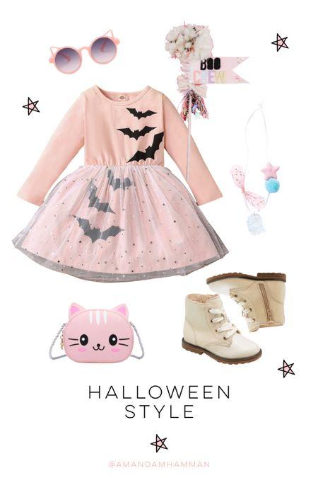 Halloween, fall fashion, bats, boots, necklace, pennant, girls   #LTKkids #LTKfamily #LTKSeasonal