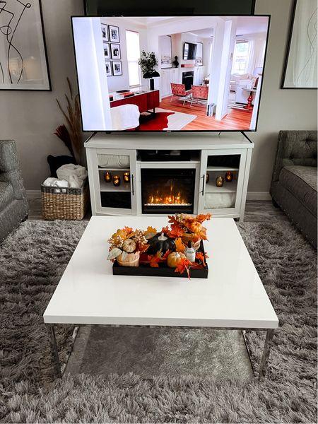 Fall living room decor, home decor, living room, coffee table, electric fireplace, Target, basket, living room decor  #LTKfamily #LTKhome