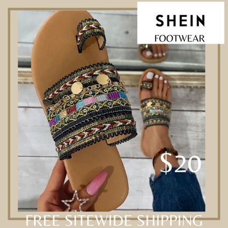 Metal charm woven thong sandals from Shein and free sitewide shipping today   http://liketk.it/3hZcB #liketkit @liketoknow.it #LTKshoecrush #LTKunder50 #LTKstyletip You can instantly shop my looks by following me on the LIKEtoKNOW.it shopping app