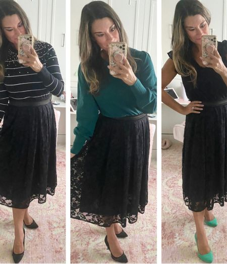How to style a black lace skirt - use code CANDACE15 to save 15% off my tops and skirt. Everything is true to size. Wearing a small in each piece. #justpostedblog  Gibsonlook Holiday Seasonal Fall Women's style  #LTKstyletip #LTKSeasonal #LTKHoliday