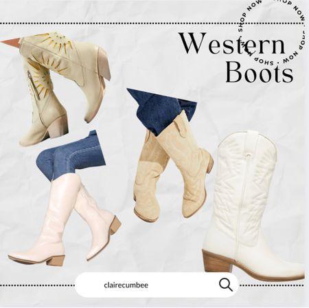 White western boots Cowboy boots White boots Free people dupe Shein Splurge   #LTKshoecrush #LTKbacktoschool #LTKaustralia
