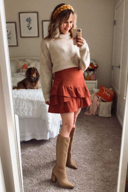 Fall outfit, fall skirt, thanksgiving outfit, fall ootd  #LTKsalealert #LTKSeasonal #LTKshoecrush