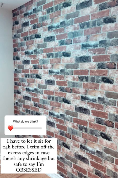Faux brick accent wall with peel and stick wallpaper!   #LTKunder100 #LTKhome #LTKstyletip