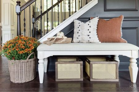 My entryway is fall ready with several new affordable Walmart finds! Home decor fall decor padded bench storage basket cane crate fall pillow  #LTKhome #LTKstyletip #LTKSeasonal