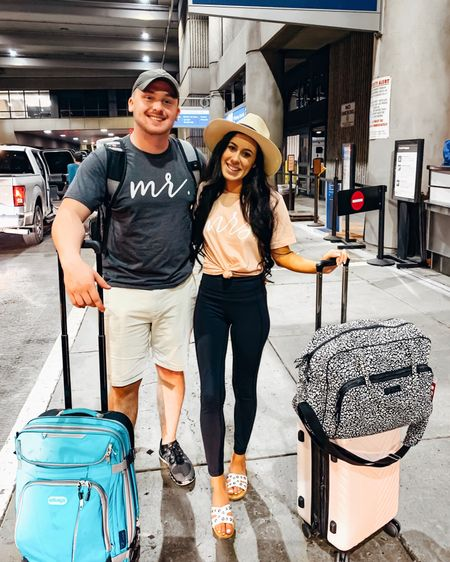 And we're off!! Honeymoon bound!!! 💍🌴☀️ We sooooo so need this trip to relax and unwind. For Christopher it'll be the second we get on the plane...but I can never sleep on planes!! Gonna be a long redeye flight for me 😫😳 RIP . Those of you that have been to the islands of Bora Bora or Moorea, please leave us some ideas of what we've gotta see and do!! 🍹🏝 .  And screenshot the second pic to shop these cute Mr & Mrs shirts, and my travel product deets with the @liketoknow.it  shopping app! 🛍 #liketkit http://liketk.it/2G73z