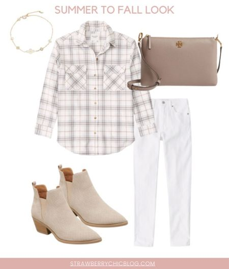 Summer to fall look- add a plaid shirt to white jeans and booties   #LTKshoecrush #LTKSeasonal #LTKstyletip