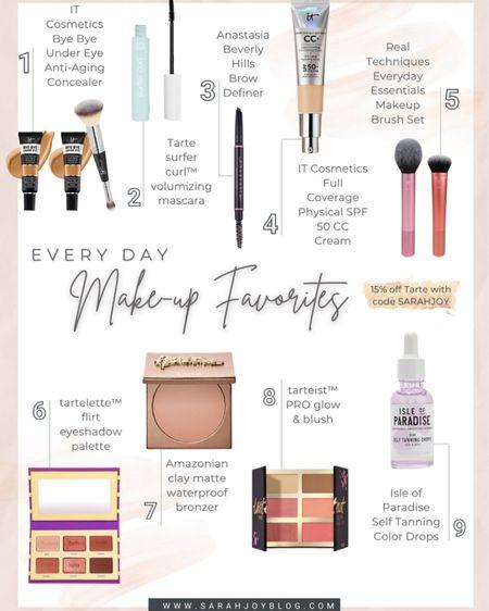 My easy everyday makeup favorites! Use SARAHJOY for 15% off Tarte.  http://liketk.it/3hQS2 #liketkit @liketoknow.it #LTKbeauty #LTKstyletip #LTKunder50