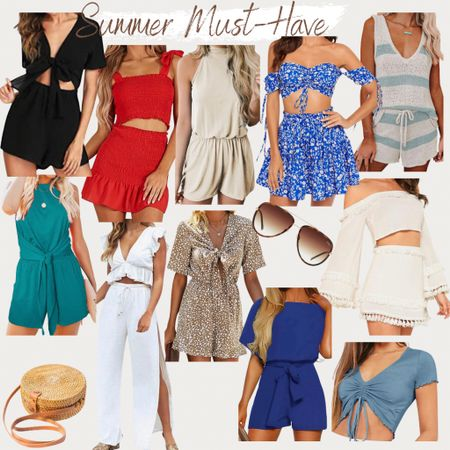 http://liketk.it/3gHHD #liketkit @liketoknow.it #LTKunder50 #LTKtravel #LTKstyletip romper, two piece set, summer outfit, summer style, summer dress, summer skirt, sunglasses, vacation outfits, beach vacation, beach bag, found it on Amazon, Amazon fashion