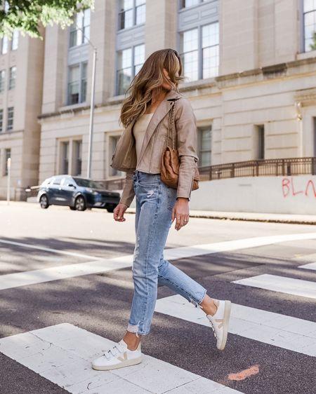 Neutral faux leather moto jacket, Abercrombie bodysuit, spring jeans (size up), Veja sneakers, and a Tory Burch bag. ✨ http://liketk.it/3dPiz #liketkit @liketoknow.it