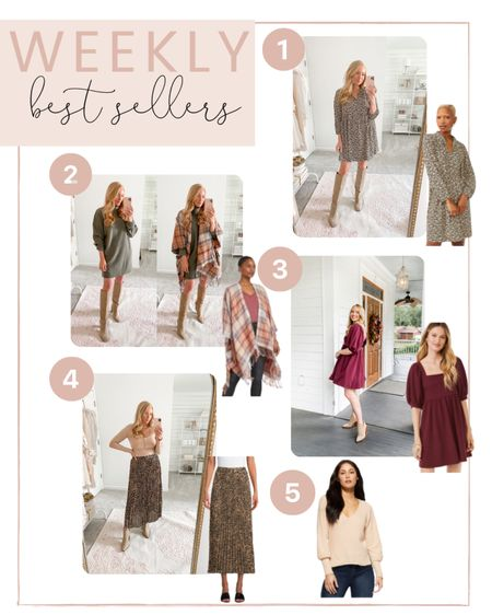 This weeks best sellers are in! You all are loving this floral dress for fall, plaid poncho wrap, merlot dress, pleated midi skirt and neutral sweater!   #LTKstyletip #LTKunder100
