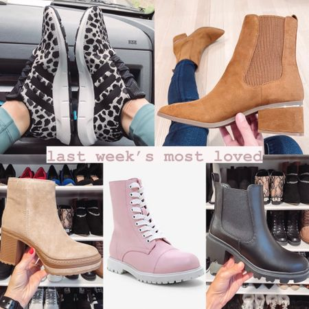 Last week's most loved in shoes: lots of fall booties' - my adidas Swift run leopard print sneakers (currently on sale) - tan heeled booties from express (also on sale) - Steve Madden heeled boots - pink and white combat boots - black chunky boots under $50  #LTKshoecrush #LTKunder50 #LTKSeasonal