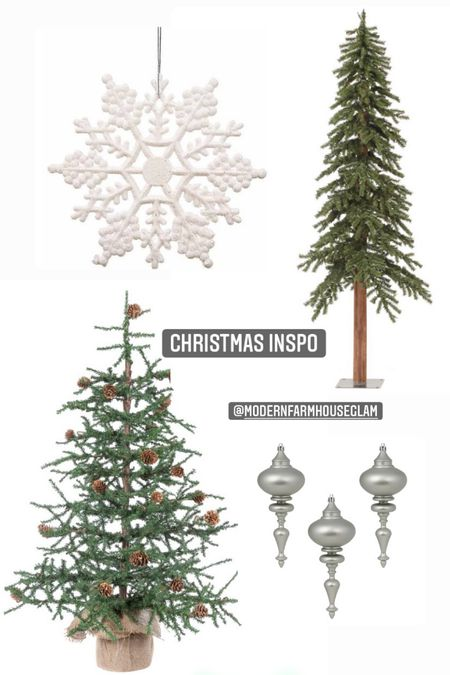 Christmas decorations, Christmas tree, skinny tree, finial ornament, snowflake ornaments, home decor, Christmas Decor, ModernFarmhouseGlam, Walmart Christmas, Target  #LTKHoliday #LTKhome #LTKSeasonal