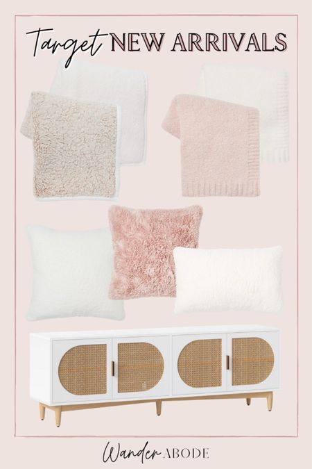 New cozy blankets & pillows for fall & winter, Barefoot Dreams dupe for $25, mid century modern cane media console   #LTKhome