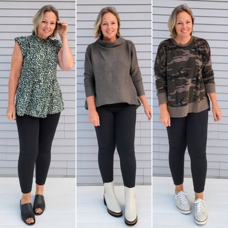 Casual everyday fall dressy teacher weekend outfit featuring black ponte pants leggings cropped kick flare pants, dressy green floral ruffled shirt, a slouchy oversize green sweater tunic, and a camo sweatshirt with white studded lug platform Chelsea boots and heeled mules slide sandals #teacher #mom #classroom #petite #dressy #Casual #budget #affordable #ponte #pontepants #kick rope #kickflare #business #work #weekend #holiday #party #green #black #Chelseaboots #winter #fall http://liketk.it/3ov5B @liketoknow.it #liketkit