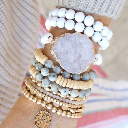 This statement bracelet stands out! Look at that huge stone! It's amazing! And the soft colors will go with a rose gold Apple Watch or similar really nicely!  Stackable bracelet sets for women. Beaded bracelets.   #LTKsalealert #LTKkids #LTKunder50