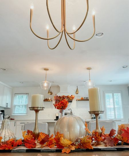 Fall decor  Fall Kitchen  Thanksgiving  Table decor  Pumpkin decor Amazon finds  Target style  Chandelier  Sconces  Counter stool Bar stool   #LTKSeasonal #LTKhome