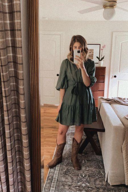 football tailgate dress, green dress, fall dress - fits TTS, super comfortable, skirt is lined   #LTKSeasonal #LTKunder100 #LTKstyletip