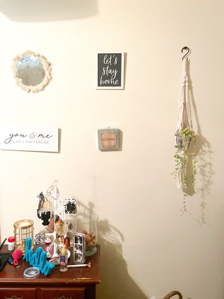 Boho decor:  Macrame plant holder + Macrame mirror + Let's stay home sign + Blessed sign + You & Me sign + Jewelry organizer + Gold scent Warmer  #LTKunder100 #LTKhome