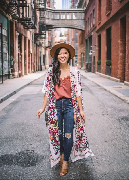 Floral kimono, similar rust cami, similar high waisted ripped skinny jeans (same brand and style, just different washes currently available), brown felt hat, similar brown strappy heels.  Amazon finds, Amazon fashion, fall style, fall outfit, casual outfit, ripped jeans, transition style, vacation outfit.    #LTKworkwear #LTKunder50 #LTKstyletip