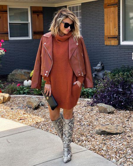 Faux leather jacket (M) Sweater dress (M)   @liketoknow.it http://liketk.it/3jMAj #liketkit #LTKsalealert #LTKstyletip   Nsale finds, fall fashion, knee high boots