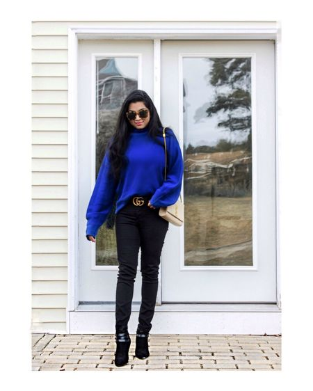 Wearing this blue flared sleeve sweater and black skinny jeans for an effortless casual look!💙🖤 Outfit details- http://liketk.it/2zmv1 #liketkit @liketoknow.it  Follow me on the LIKEtoKNOW.it app to get the product details for this look and others!