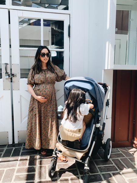 Maternity dress. Bugaboo Lynx stroller. Doen dress.   Dress - Doen xs Sunglasses - Anine Bing Larchmont  Sandals - Hermès 35   #LTKbump