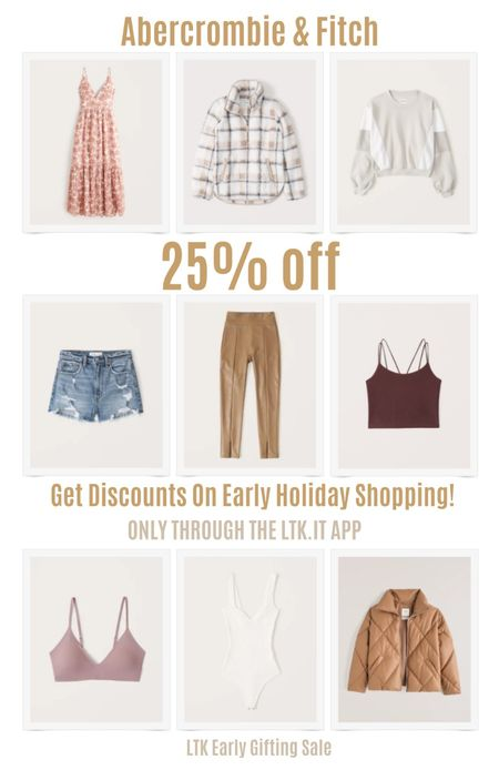 Get discounts on early holiday shopping with the LTK Early Gifting Sale! Get 25% off sitewide Abercrombie. Refresh your fall wardrobe with these pieces. Leaf print maxi dress, plaid sherpa jacket, color-block sweater, high rise mom shorts, leather pants, cropped tank, wireless bra, white bodysuit, tan puffer coat.   #LTKDay #LTKSale #LTKunder100