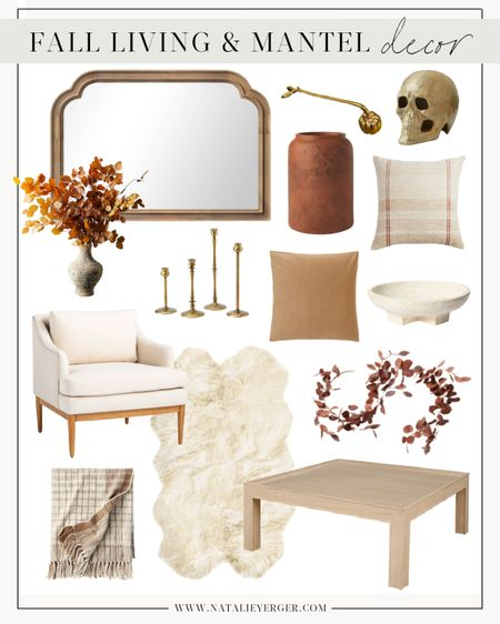Fall Decor, Target Fall Decor, Fall Home Decor, Fall Living Room Decor, Fall Coffee Table Decor, Cheap Fall Decor, Fall Mantel Decor, Fall Decor Ideas  🍂 Indoor fall decor inspiration for the mantel, living room, and coffee table. The bronze mirror was a best seller last season and they brought it back in a mantel-friendly length! Just ordered the chairs for my office and the two pillows for our sunroom. Head to my LTK profile for more fall room decor this season!  #falldecorlivingroom #falldecorcoffeetable #fallmantledecor #fallmantel #fallmantle #falldecormantle #falldecormantel #fallfireplacedecor #fallpumpkindecor #indoorfalldecor #indoorfalldecorations #fallroomdecor #velvetpillow #fallbedroomdecor #livingroomfalldecorideas #falldecorativepillows #candleholders #fallhomedecorideas #cutefalldecor #cellajaneblog #fallgarland #fallcoffeetable