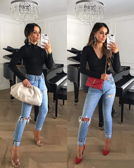 Casual fall outfit Amazon fashion top Levi's jeans Red pumps Saint Laurent red crossbody bag   #LTKunder100 #LTKunder50 #LTKstyletip