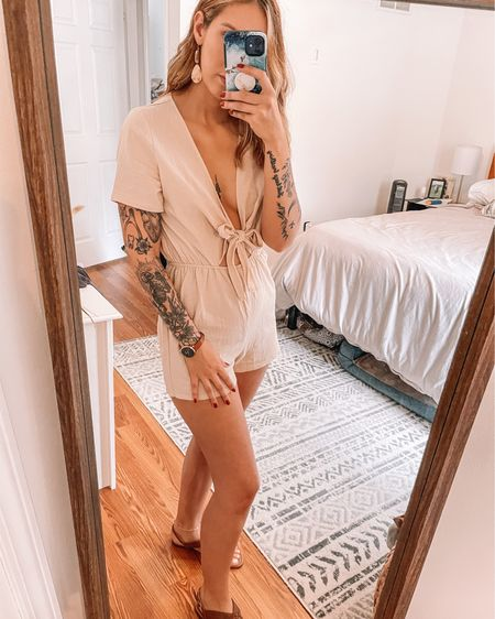 Absolutely love this beige neutral tie front romper! Size small. Paired with brown sandals and a brown leather watch and neutral dangling earrings! My geometric bohemian rug, comforter, and beige neutral duvet are all linked here as well! http://liketk.it/3hbwg #liketkit @liketoknow.it #LTKhome #LTKstyletip #LTKunder50 @liketoknow.it.home