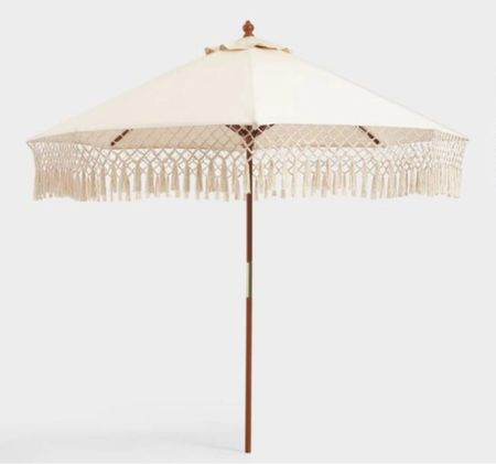 White fringe outdoor patio umbrella. .   Natural 9 Ft Replacement Umbrella Canopy With Fringe  Pole sold separately.    #LTKSeasonal #LTKunder100 #LTKhome