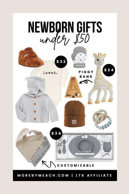 Christmas Gift Guide - Gender Neutral Newborn Gifts Under $50!   baby gifts, baby Uggs, piggy bank, custom gifts, personalized gifts, Etsy gifts, newborn presents, bandana bibs, gender neutral baby clothes, baby toys   #LTKbaby #LTKGiftGuide #LTKunder50