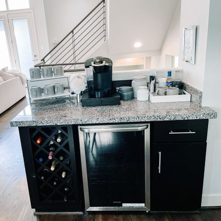 Modern glam coffee bar. Stoneware Gray mugs. Modern canisters. Marble modern tiered tray. Neutral coffee bar  #LTKstyletip #LTKhome