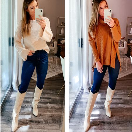 WHITNEY FOR 20% off sitewide // large tunic and small beige sweater - 26 jeans