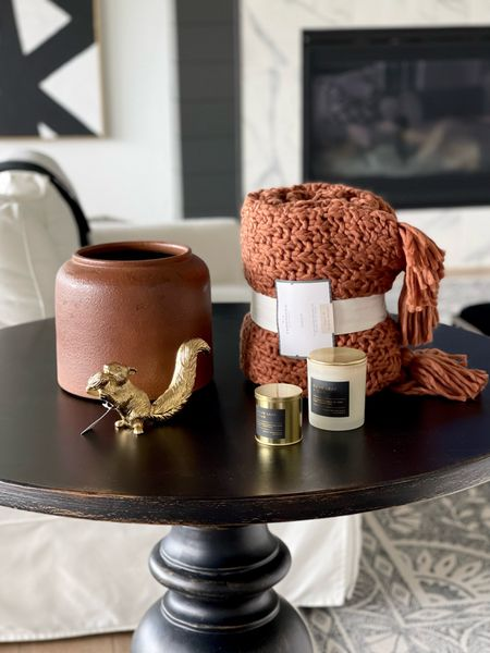 These are some of my favorites that I found at target on my shopping trip today! Not everything is in stock but still linking in case you're able to grab in your store! That cute brass squirrel is part of their new collection and is only sold in stores right now. I will make sure to share as soon as you can grab it online!  Fall decor, orange, burnt orange Decor, fall throw, living room decor, warm living room, ccozy, Brass Decor, black and white, black and white rug, area rug, home decor, Neutral Decor  #LTKhome #LTKstyletip #LTKunder50