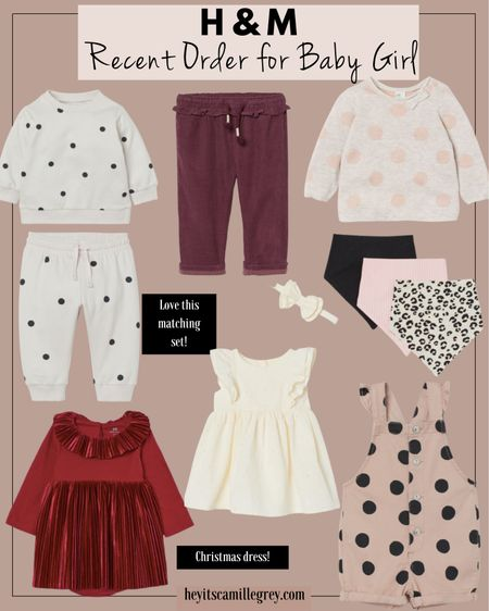 Recent Order for Baby Girl from H&M Matching sweatsuit with polka dots, lined corduroy pants, bandanas, polka dot sweater, polka dot jumpsuit/romper, red dress for christmas and cream dress for family photos   #LTKunder50 #LTKSeasonal #LTKbaby
