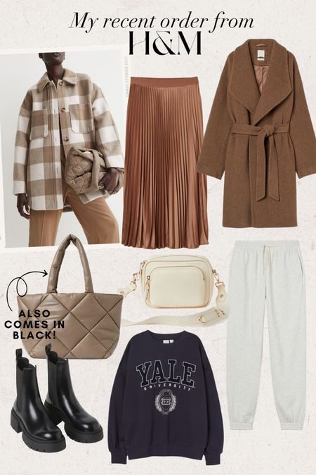 Fall Finds • H&M recent order!  Full outfit, fall jacket, fall coat, early fall outfit, casual fall outfit, long jacket, pleated skirt, shacket, plaid shacket, Chelsea boots, fall boots, belted coat, belted jacket