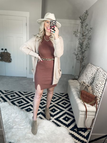 Abercrombie dress- m tall  Cardigan - small  Chain belt- s/m   #LTKSale #LTKunder50 #LTKsalealert