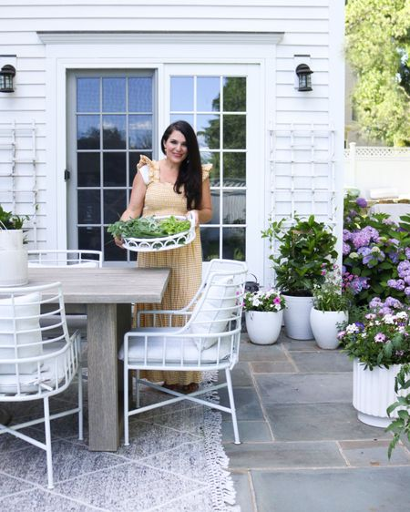 Outdoor patio, outdoor table, gingham dress, yellow dress, outdoor planters, outdoor decor, summer time outfit  http://liketk.it/3ikiF #liketkit @liketoknow.it